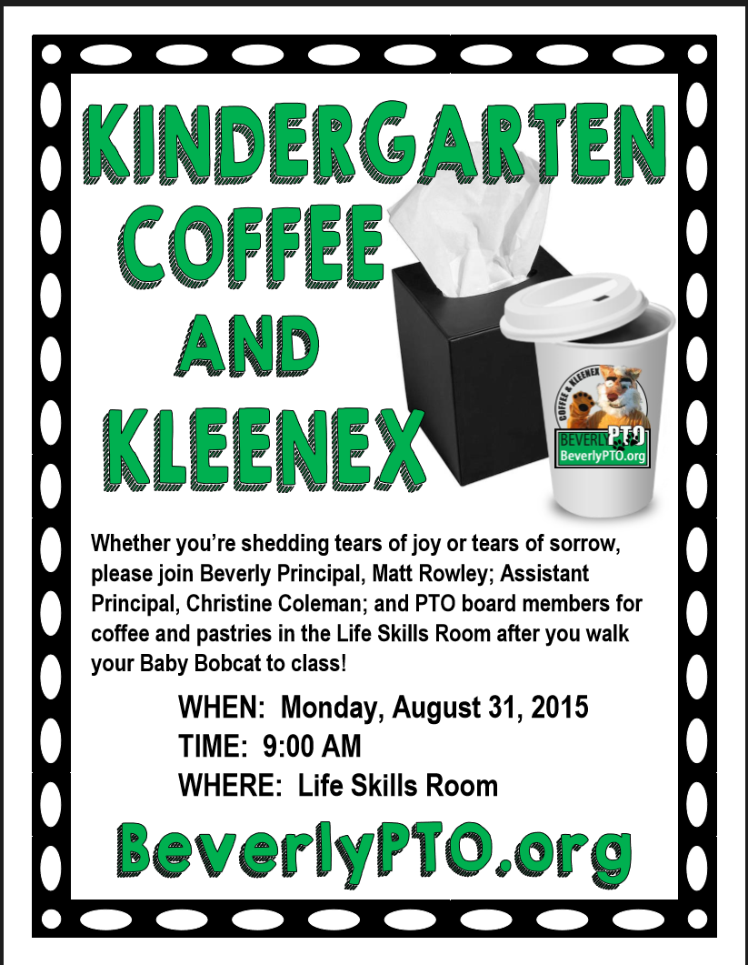 Beverly Elementary School Coffee & Kleenex Flyer